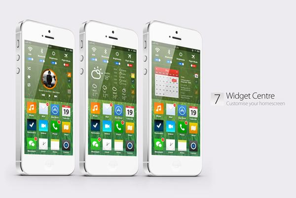 iOS 7 without skeuomorphism visualized