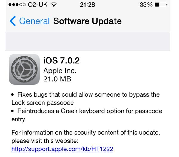 iOS 7.0.2 OTA update, jailbreakers steer clear