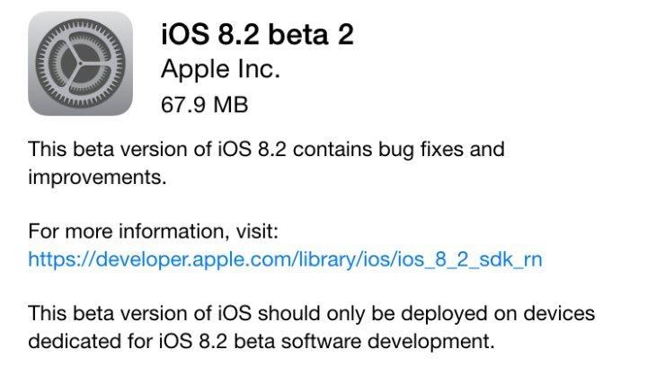 iOS 8.2 beta 2 brings fixes and improvements