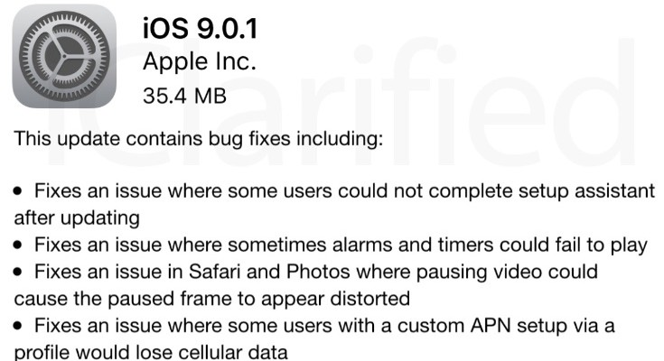 iOS 9.0.1 release brings problem fixes