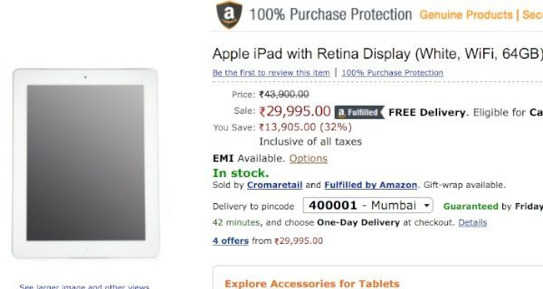 iPad 4 price slash for India saves almost Rs. 14,000