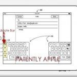 iPad split keyboard patent featuring candidate bar