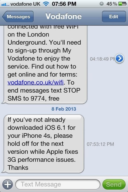 iPhone 4S Vodafone 3G problems, do not install iOS 6.1