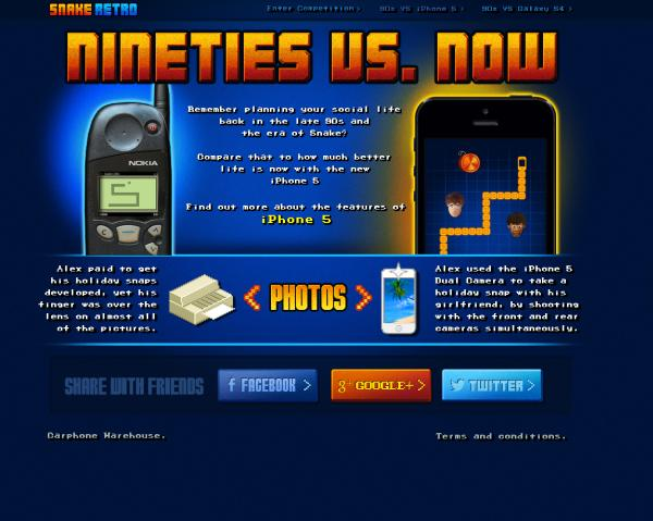 iPhone 5, Galaxy S4 vs 90s & Snake Retro