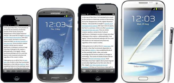 iPhone 5 vs Galaxy S3, iPhone Plus, Note 2 Side-by-side