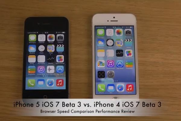 iPhone 5 vs iPhone 4 iOS 7 Beta 3 speed comparisons