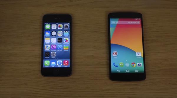 iPhone 5S iOS 8 vs Nexus 5 Android 4.4.3 speed test