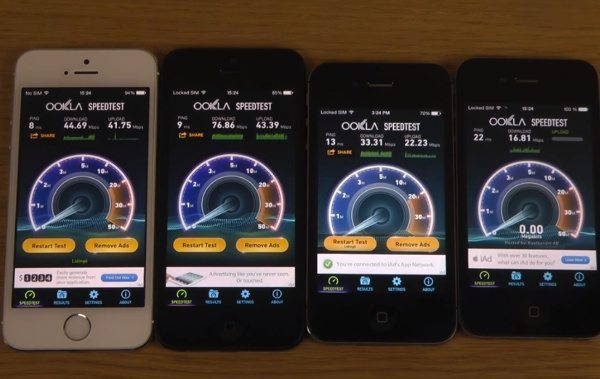 iPhone 5S, 5, 4S, 4 iOS 7.1 beta 4 Internet speed test