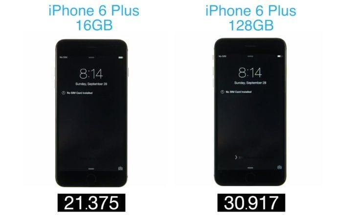 iPhone 6 Plus 128GB vs 16GB b