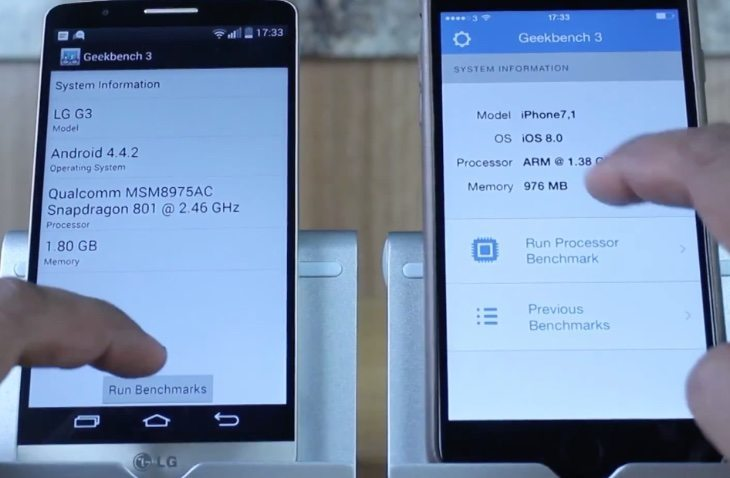 iPhone 6 Plus vs LG G3 benchmark results