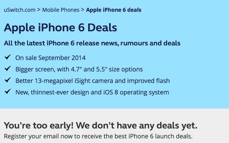 uSwitch ready iPhone 6 deals page, awaiting price