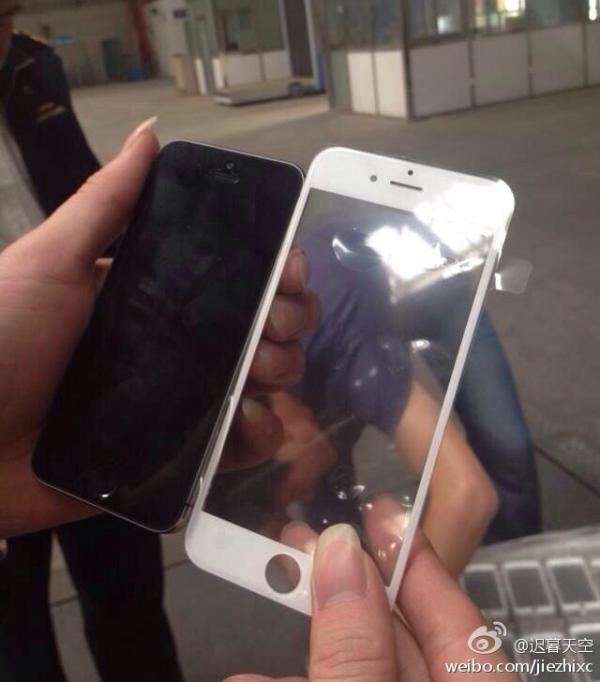 iPhone 6 front panel possibly sized up next to 5S