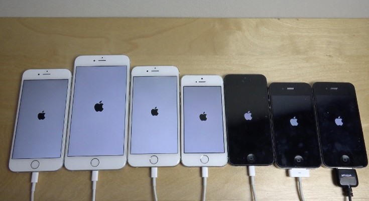 iPhone 6S vs 6 Plus, 6, 5S, 5, 4S, 4 in benchmark and bootup tests