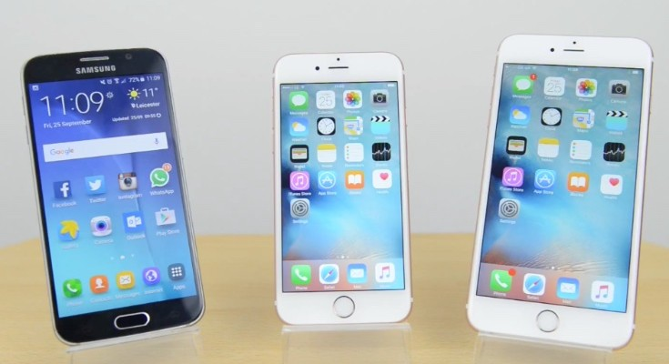 iPhone 6S vs 6S Plus vs Galaxy S6 benchmark test result