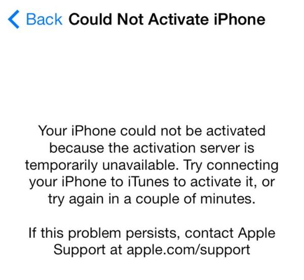 iPhone activation required error hits iOS 7