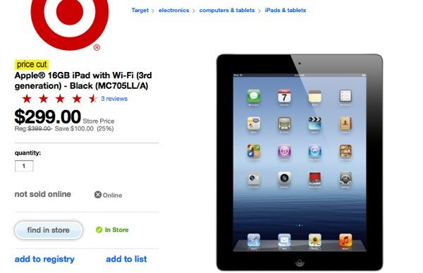 16GB iPad 3 $299 via Target at select stores