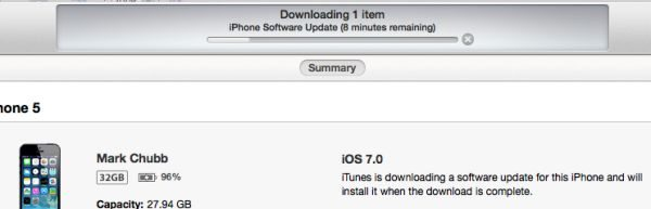 iphone 5 downloading iOS 7