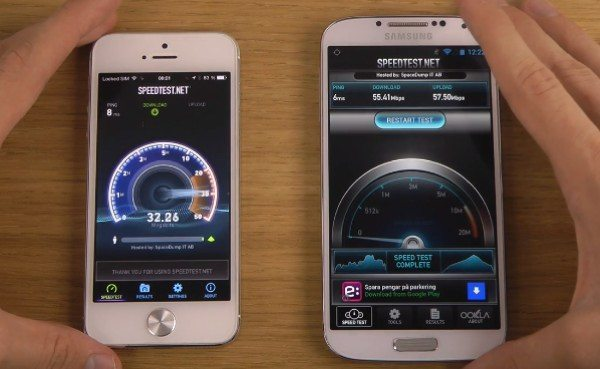 iPhone 5 iOS 7 Beta 5 vs Galaxy S4 Internet performance