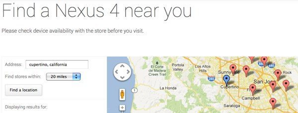 Google Nexus 4 finder shows US retailers