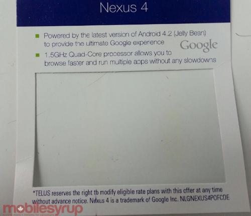 TELUS Nexus 4 release possibility