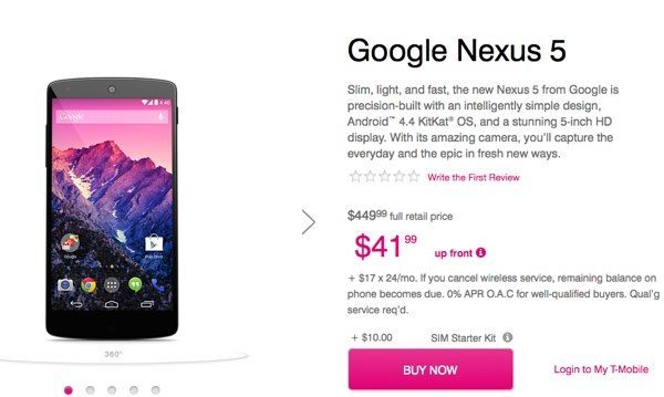 Nexus 5 now available online at T-Mobile