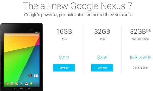 Nexus 7 2013 price for India, coming soon