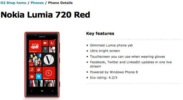 Nokia Lumia 720 at O2 UK, contract & non-contract price
