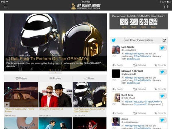 Official Grammy Awards app updated for 2014