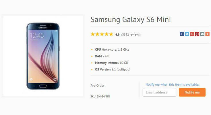 Samsung Galaxy S6 Mini gets listed ahead of official announcement