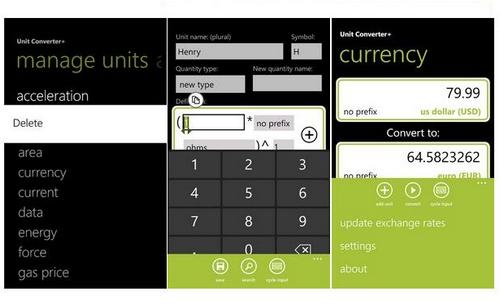 the unit converter app also includes a fast and easy metro user