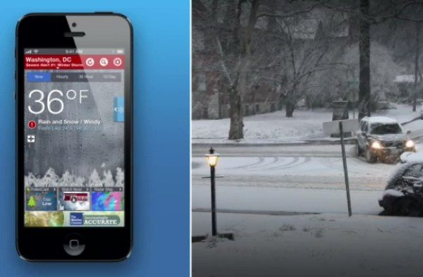 Weather Channel app for winter storms