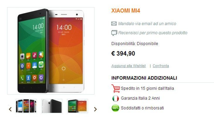 The Xiaomi Mi4 heads to Italy in August