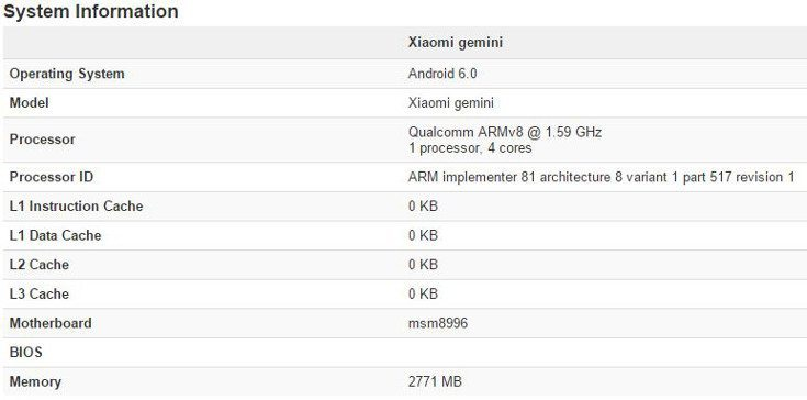 Mysterious Xiaomi Gemini hits Geekbench with a Snapdragon 820